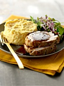 Roasted turkey with spicy gravy and a polenta timbale