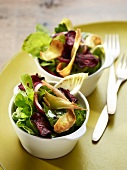 Mesclun, red onion and fried beetroot and parsnip salad
