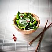Corn lettuce and goji bean salad