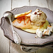 Pancakes with toffee sauce and nougat ice cream
