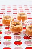 Apple and apricot mousse with goat's cheese and mint