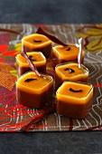 Chocolate cream and pureed mango desserts