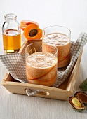 Apricot smoothie with almond milk and agave syrup