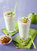 Apple,honey,milk,yoghurt and cereal smoothie