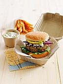 Eggplant-feta vegetarian burger