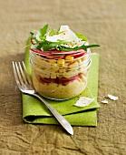 Radish tartare with sweet corn,Ceasar salad