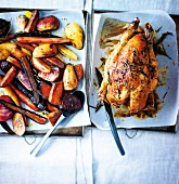 Roasted chicken and autumn vegetables