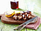Grilled sausages with polenta patties