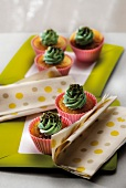 Cupcakes with green tea butter cream