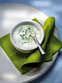 Creamy cucumber sauce with basil and geen pepper