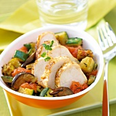 Spicy chicken breasts with ratatouille