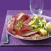 Thin slices of roast beef,traditional mustard sauce,potato and green bean salad