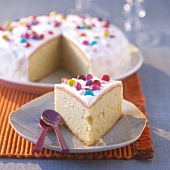 Vanilla pound cake with icing and Smarties