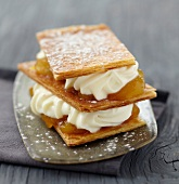Stewed apricot and whipped cream Mille-feuille