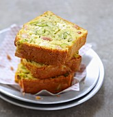 Fromage frais , zucchini and diced bacon loaf