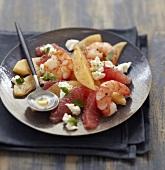 Citrus fruit,shrimp and crumbled Fromage frais salad