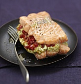 Salmon stuffed with pesto and sun-dried tomatoes