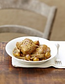 Rabbit sauteed with beer and mirabelle plums