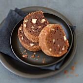 Slices of chocolate-hazelnut cake
