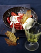 Strawberry fruit salad with white chocolate mousse and Feuillantine