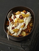 Skate with slowly cooked sweet potatoes and hazelnuts