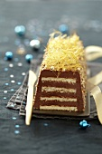 Crispy-soft chocolate log cake