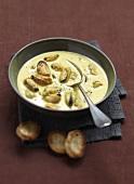 Saffron-flavored mussel soup