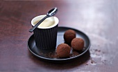 Whisky-flavored chocolate truffles