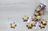 Cinnamon-flavored star-shaped Christmas shortbread cookies