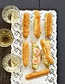 Avocado cream and shrimp mini savoury Eclairs