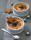 Caramelized prune baked egg custard