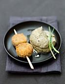 Crisp Andouillette brochette and pureed lentils