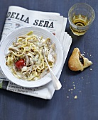 Tagliatelles with gorgonzola,chicken and pine nuts