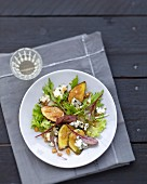 Mixed lettuce,fig, roquefort and ginger salad