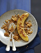 Roasted banana with toffee sauce and coconut crumble