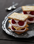 Mascarpone and raspberry rich tea biscuit Mille-feuille