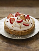 Cream and strawberry rich tea biscuit pastry tart