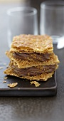Chocolate ganache and Speculos gingerbread biscuit crumb Mille-feuille