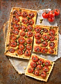 Cherry tomato,pistachio and almond cream tart
