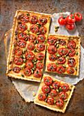 Cherry tomato,pistachio and almond cream tart
