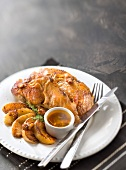 Guinea-fowl in cider sauce,bacon,roasted potatoes and walnuts