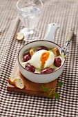 Soft-boiled egg and gizzard small casserole dish