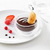 Chocolate cream dessert with a crisp caramellized tuile
