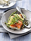 Smoked salmon,zucchini,caper,chervil and feta salad