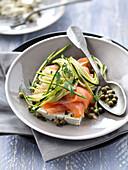 Smoked salmon,zucchini,caper,chervil and feta salad