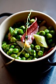 Pea and smoked duck breast casserole