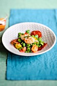 Broad bean,Dublin Bay prawn,cherry tomato and Chorizo salad
