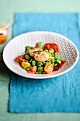 Broad bean,Dublin Bay prawn,cherry tomato and Chorizo salad