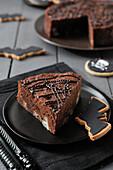 Halloween chocolate and pear cake