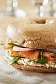 Cream cheese and smoked salmon buckwheat bagel